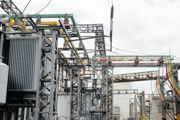 Modern and technological equipment of an electric substation close-up. energy. industry.