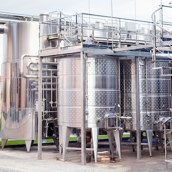 Modern technological industrial equipment of wine factory