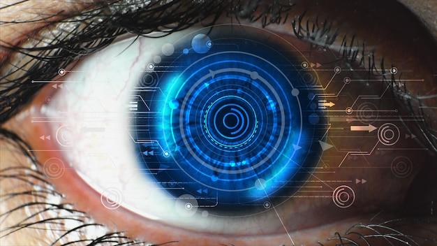 人間の目に近代的な技術画面。未来的な現代