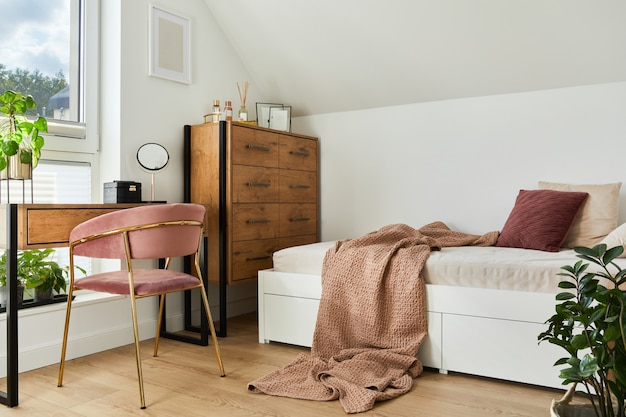 Modern teenage room interior design with bed, table, chest of drawers, pink velvet chair and personal accessories. template.