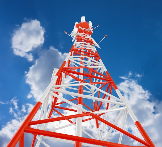 Modern telecommunications tower against the sky.