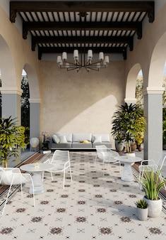 Современный дизайн террасы в отеле. 3d визуализация
