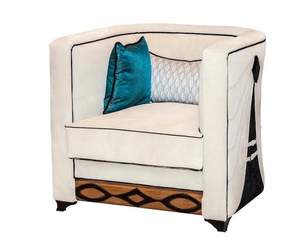 Современный текстильный белый стул, изолированные на белом фоне