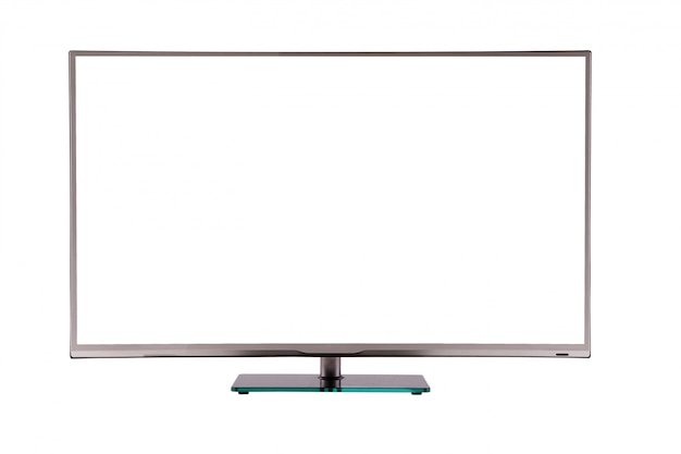 Modern thin plasma lcd tv on a silver black glass stand isolated