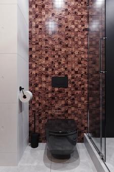 Современный интерьер туалета с коричневой мозаикой и черным туалетом. 3d рендеринг