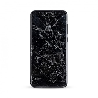 Modern touch screen smartphone with broken screen isolated