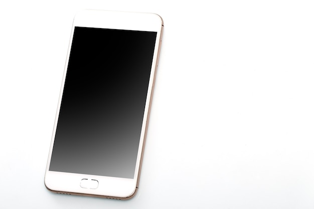 Modern touchscreen smartphone on white