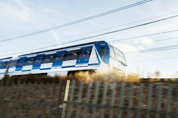 Modern train in rural area