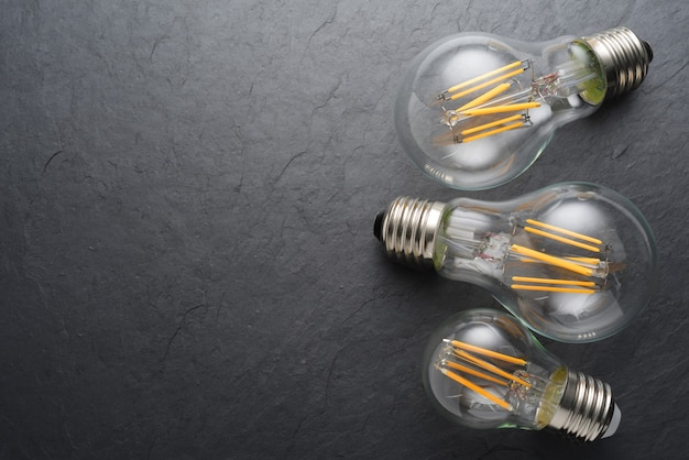 Modern transparent led filament light bulbs