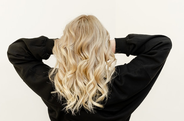 Modern trendy airtouch technique for hair dyeing. look from behind