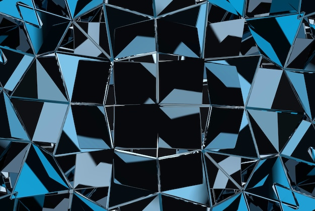 Modern triangular blue reflection metallic wall background.