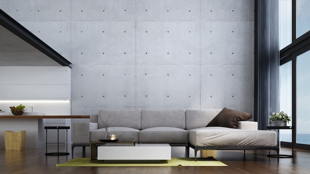 Modern tropical living room interior design and white concrete wall