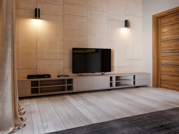 광택 있는 패널리 베이지 색상의 벽에 선반과 tv가 있는 현대적인 tv 스탠드. 안락의자와 tv 스탠드가 있는 침실. 3d 렌더링
