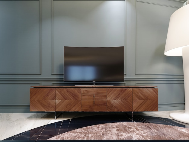 Modern tv on a wooden cabinet in the living room. 3d rendering
