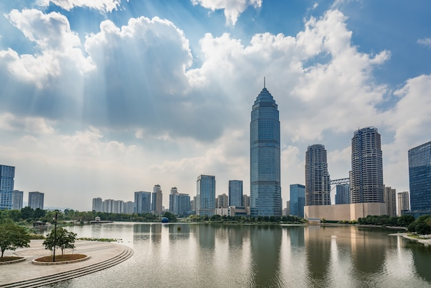 Modern urban architectural landscape of shaoxing china