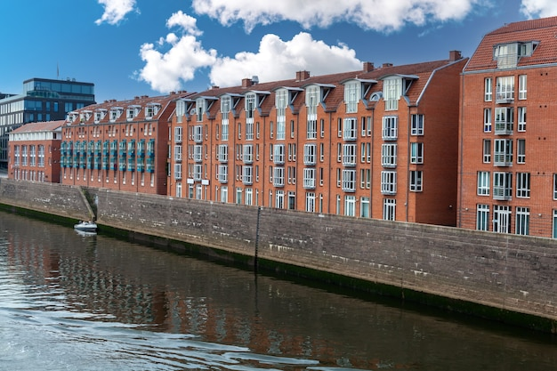 Modern urban architecture in europe on the river bank
