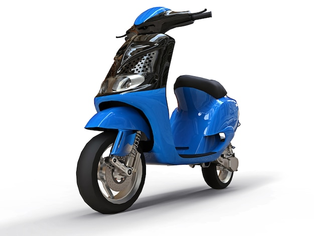 Modern urban black and blue moped on a white background. 3d illustration.