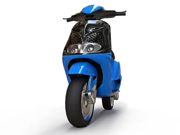 Modern urban black and blue moped on a white surface