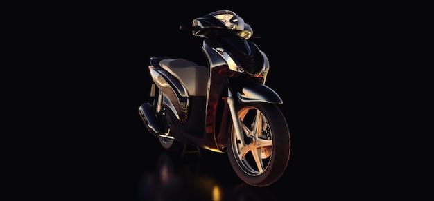 검은 배경에 현대 도시 검은 오토바이입니다. 3d 그림입니다.
