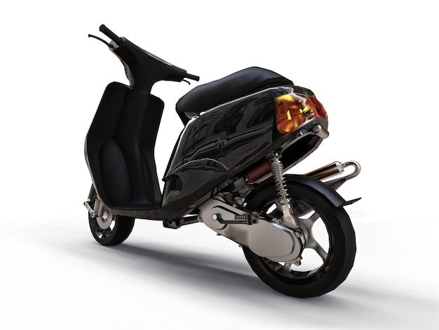 흰색 바탕에 현대 도시 검은 오토바이입니다. 3d 그림입니다.