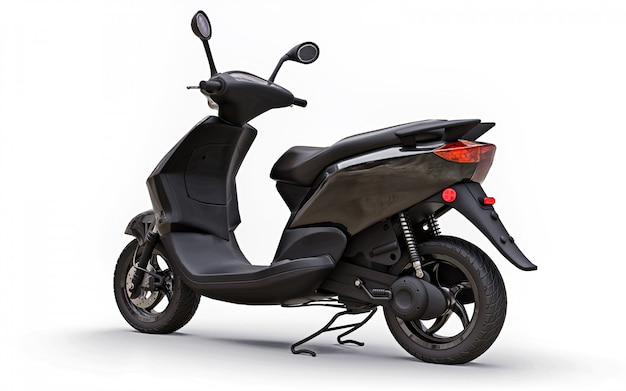 Modern urban black moped on a white background. 3d illustration.
