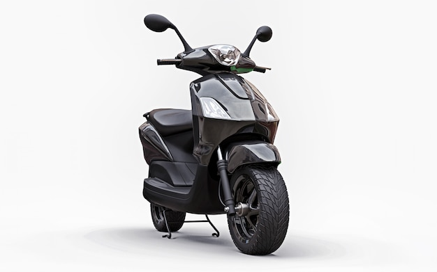 Modern urban black moped on a white background. 3d illustration.