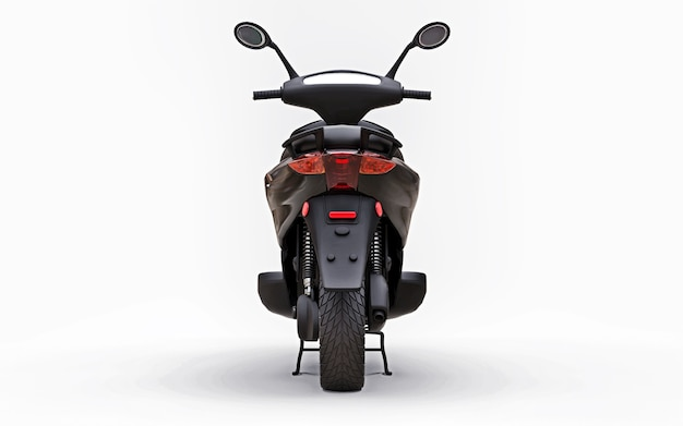 Modern urban black moped on a white surface