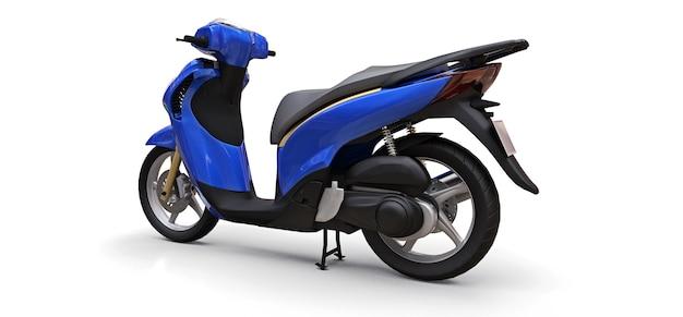 흰색 바탕에 현대 도시 파란색 오토바이입니다. 3d 그림입니다.