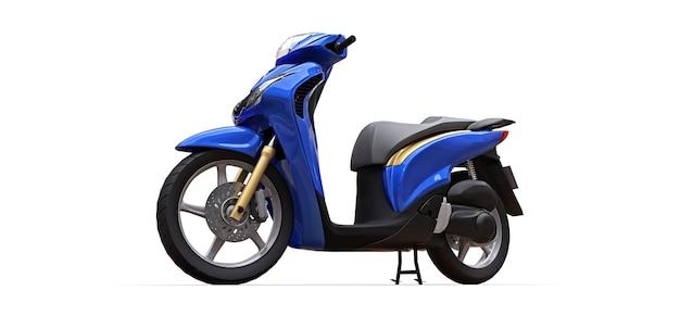 Modern urban blue moped on a white background. 3d illustration.