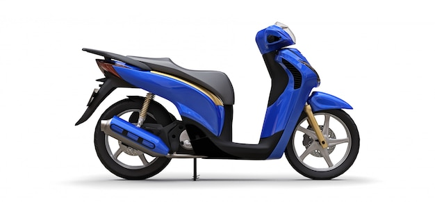 Modern urban blue moped