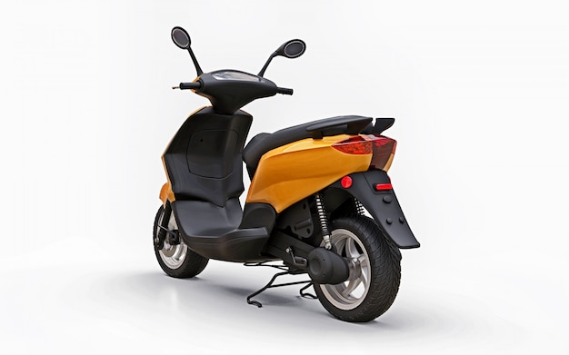 Modern urban orange moped on a white background