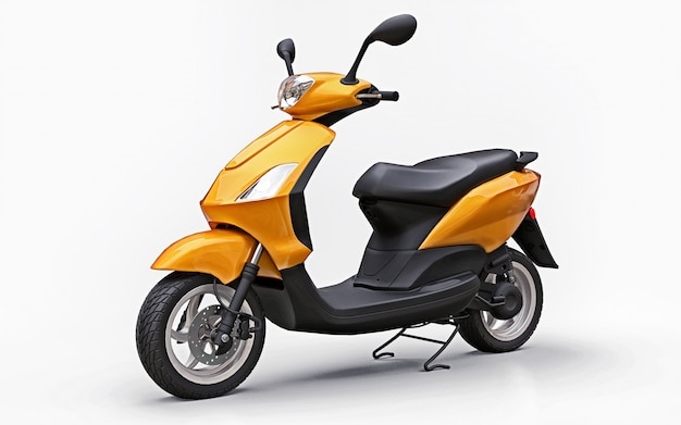 Modern urban orange moped