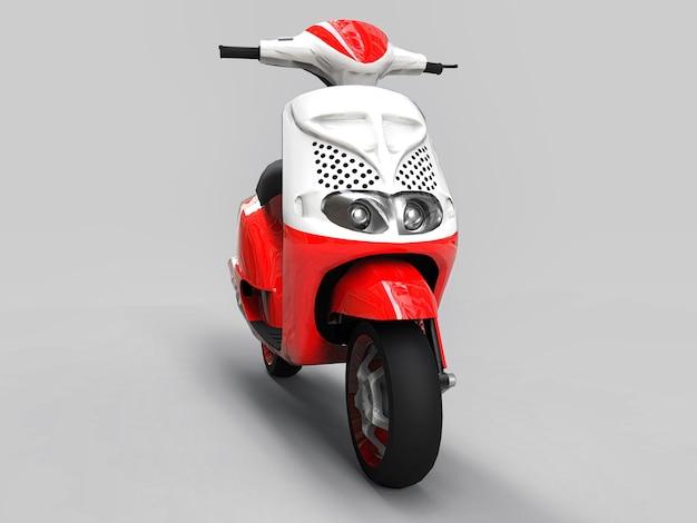 밝은 회색 배경에 현대 도시 빨간색과 흰색 오토바이. 3d 그림입니다.