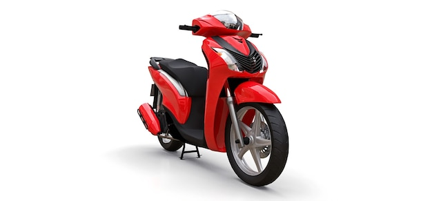 현대 도시 빨간색 흰색 배경에 오토바이. 3d 그림.