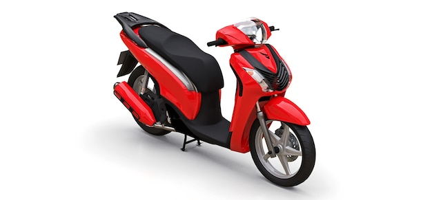 Modern urban red moped on a white surface