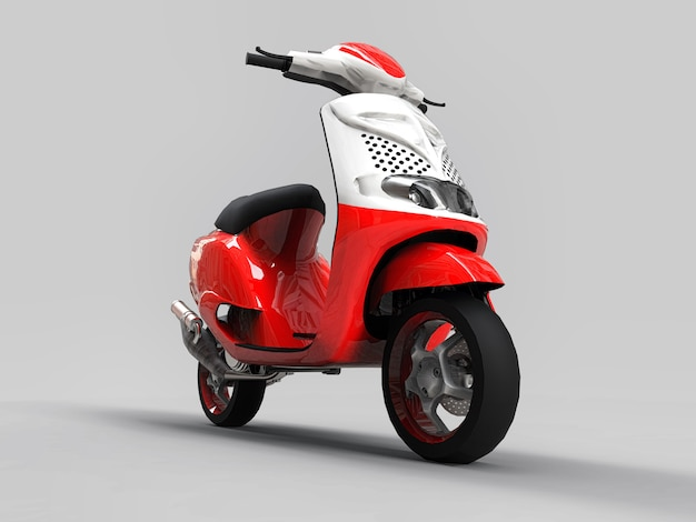 Modern urban red and white moped on a light gray background. 3d illustration.