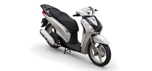 흰색 바탕에 현대 도시 흰색 오토바이입니다. 3d 그림입니다.