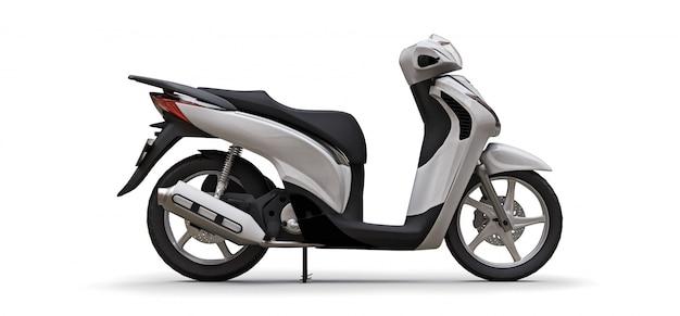 Modern urban white moped on a white background. 3d illustration.