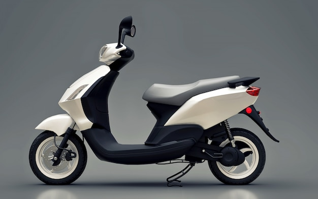 Modern urban white moped