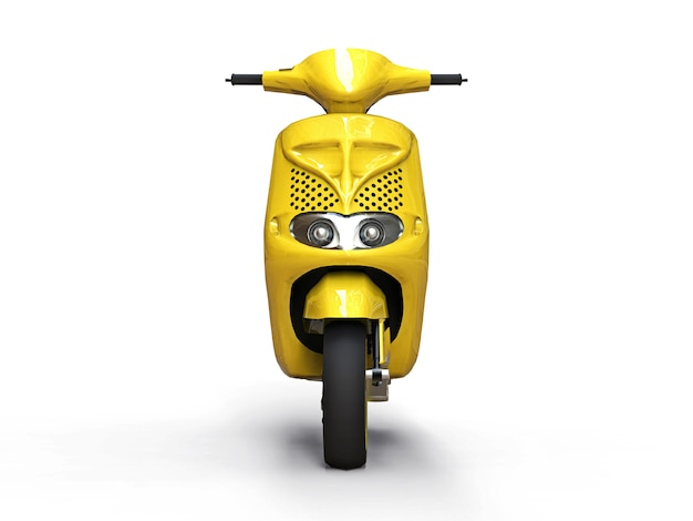 Modern urban yellow moped on a white background. 3d illustration.