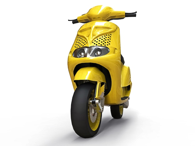 Modern urban yellow moped on a white background