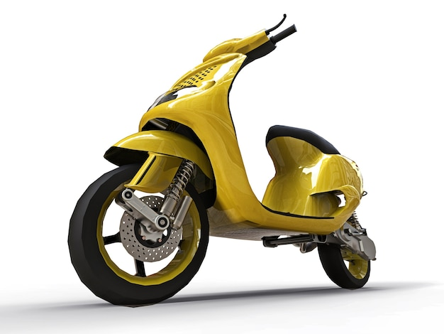 Modern urban yellow moped on a white surface
