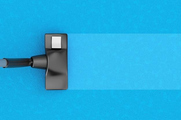Современный пылесос с copyspace для вашего текста на ковре на белом фоне. 3d-рендеринг.
