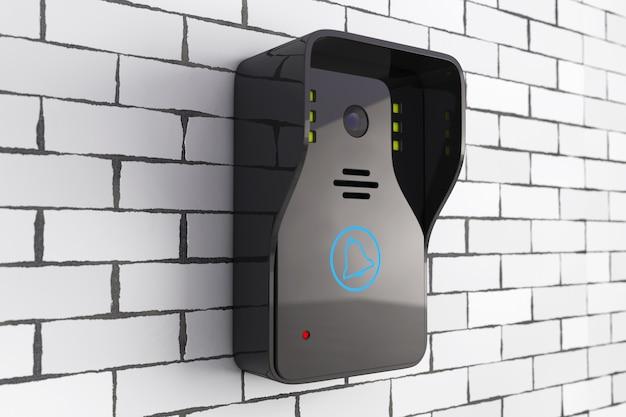 Современный видеодомофон перед кирпичной стеной. 3d-рендеринг.