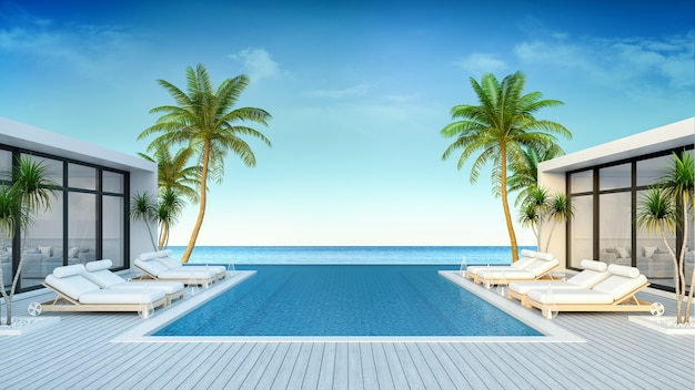 A modern villa, beach lounge, sun loungers on sunbathing deck and private swimming pool