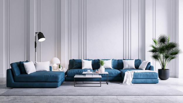 Modern vintage living room interior, blue sofa with white wall and concrete floor
