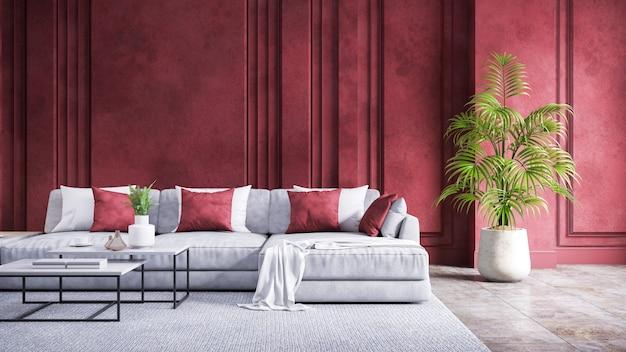 Современный винтажный интерьер гостиной, серый диван с красной гранж-стеной и бетонный пол, 3d-рендеринг