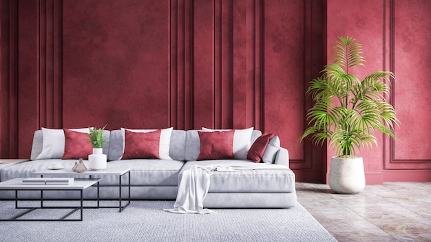 Modern vintage living room interior,gray sofa with red  grunge  wall and concrete floor,3d rendering