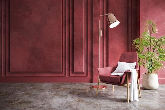 Современный винтажный интерьер гостиной, красное кресло с красной гранж-стеной и бетонный пол