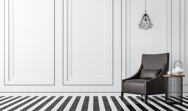 Современная винтажная гостиная с черно-белым полом 3d-рендеринга с темно-коричневым креслом